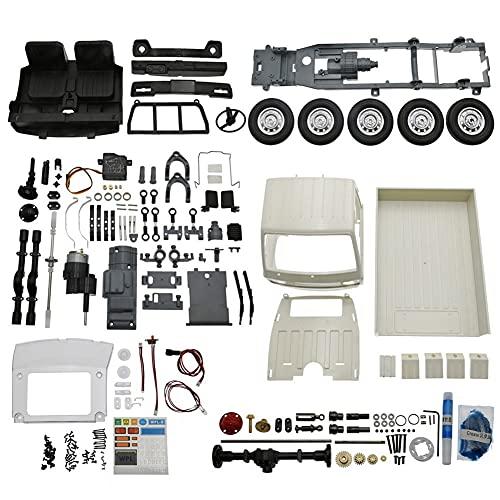 Dcolor Para WPL D12 1:10 Kit 2.4G 2WD Distancia Entre Ejes Sin Ensamblar CamióN Todoterreno WPL RC Coche 1/12 DIY 260 Motor Cepillado, Blanco