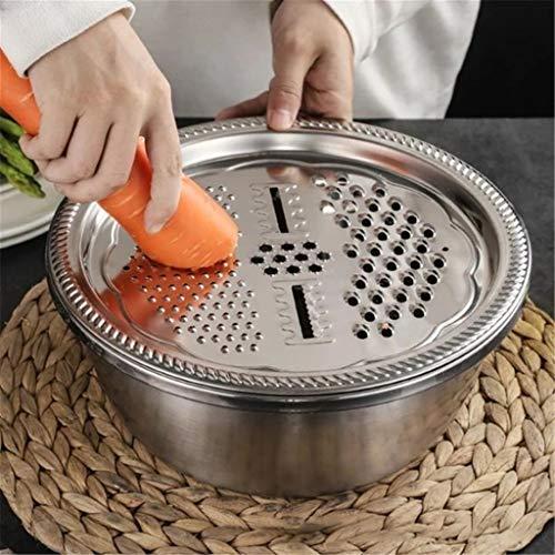 Atezch_ Vegetable Slicer Cutter - Stainless Steel Cheese Shredder Grater Set, 3 in 1 Multipurpose Julienne Grater Fruit Peeler with Drain Basket - Salad Maker Bowl