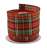 Tartan Plaid Red & Green Christmas Ribbon - 2.5' X 10 Yd Cut