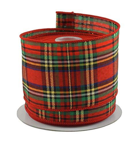 Tartan Plaid Red & Green Christmas Ribbon - 2.5' X 10 Yd Cut