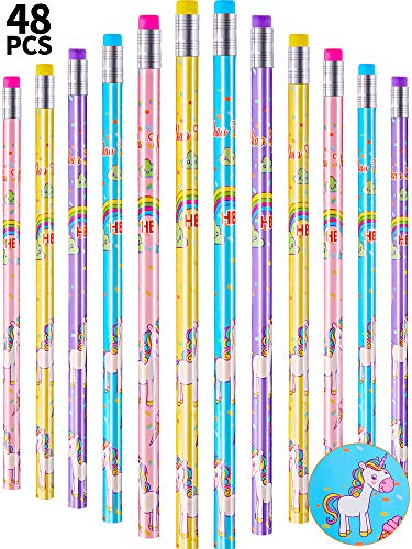 48 Pieces Unicorn Pencil Set Wooden HB Sketching Writing Pencil Unicorn Stationary Party Supplies for Classroom School Party Favors