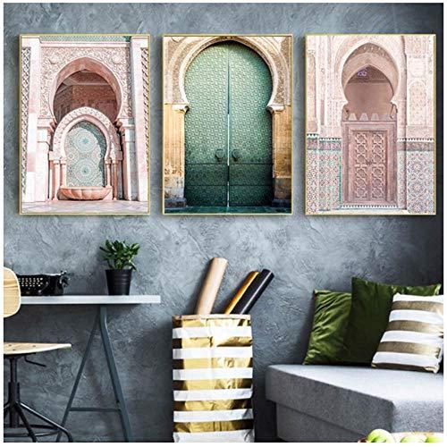 MULMF Marokkanische Tür Wandkunst Gold Koran Arabische Leinwand Keuchend Islamische Architektur Poster Druck Wandbilder Boho Dekor- 50X70Cmx3 Ungerahmt