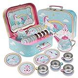 Jewelkeeper 15 Piece Kids Pretend Toy Tin Tea Set & Carrying Case - Rainbow Unicorn Design
