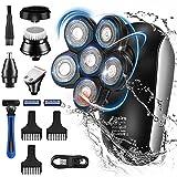 Foairs Afeitadora eléctrica para hombre con 6 cabezales de cuchillo, IPX7, resistente al agua 5 en 1, afeitadora para hombre, tipo C, recargable, indicador LED, barba, pelo de nariz, kit de cuidado
