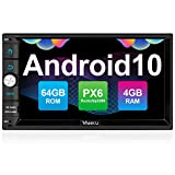 Vanku PX6 Android 10 Car Stereo Double Din with 4+64GB, GPS, WiFi, Support Android Auto, Backup Camera, USB SD, 7 Inch Touch Screen