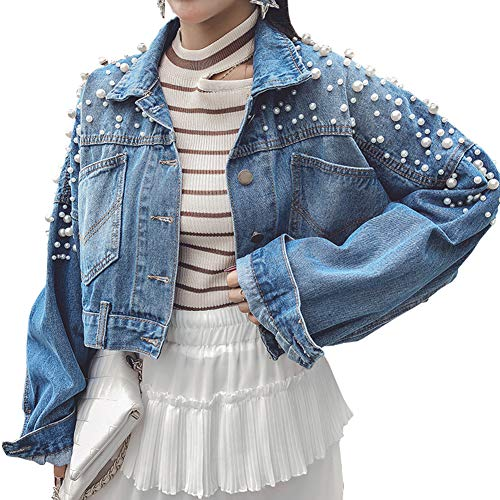 D-Sun Women's Vintage Bead Pearl Ripped Loose Washed Denim Jacket Coats (Style 2, S)