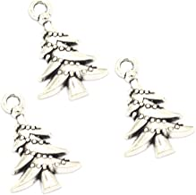 100pcs Vintage Antique Silver Alloy Christmas Tree Charms Pendant Jewelry Findings for Jewelry Making Necklace Bracelet DIY 21x14mm (100pcs Christmas Tree&)