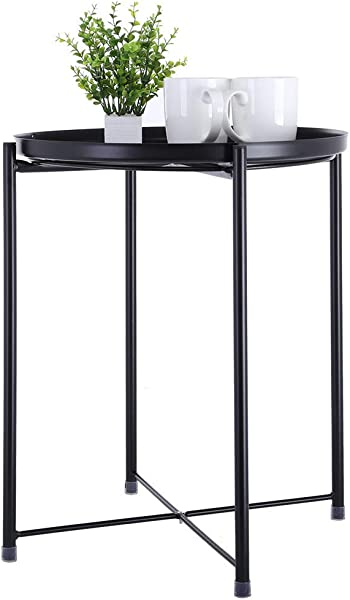 C Easy End Table With Removable Metal Tray Sofa Side Table Small Round Tables Snack Table Waterproof Anti Rusty Perfect For Garden Bedroom Living Room H 20 5 X D 16 7 Black