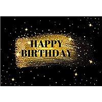 Assanu 10×6.5フィートビニールハッピーバースデー写真背景ゴールデンきらびやかなスパンコールきらめく星背景子供大人大人誕生日パーティーバナー会社周年記念お祝い
