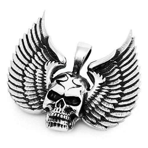 Adisaer Acier Inoxydable Homme Collier Pendentif - Crâne Eagle Aile Gothic Argent Noir