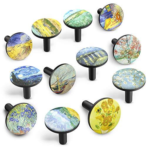 SHARE & CARE Schrankknöpfe 35 mm Durchmesser mit Sternbild / Planet / Van Gogh / Kreis Design Schublade Kommode Schrank Kleiderschrank zieht Griffe, 12-tlg (Van Gogh)