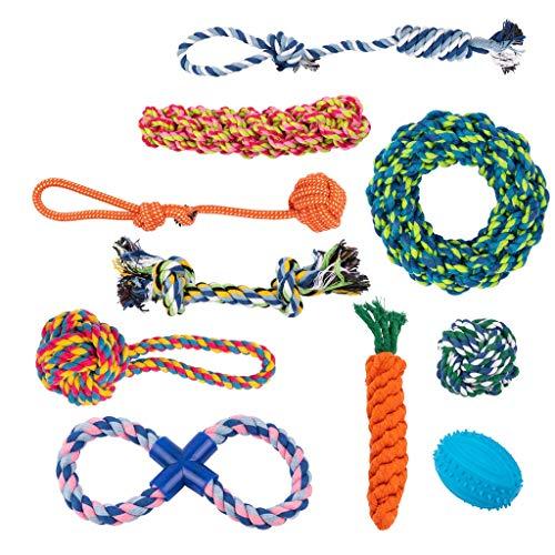 Juguetes de cuerda para perro, juego de 10 diferentes juguetes para perros grandes y pequeños