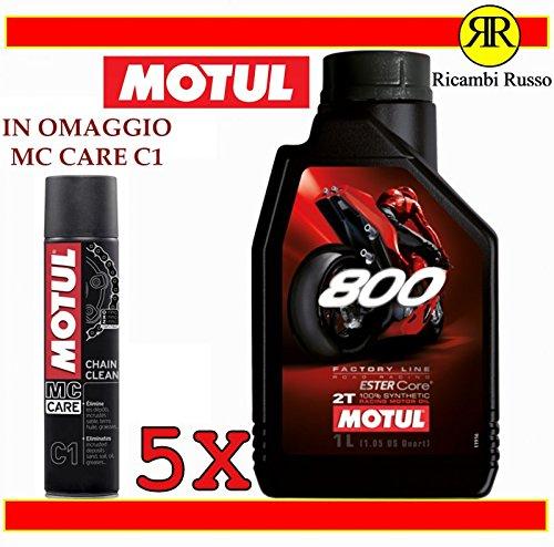 Motul 800 2T Factory Line Road Racing Aceite de motor de moto 2 tiempos 5 litros + Regalo MC Care C1 Chain Clean