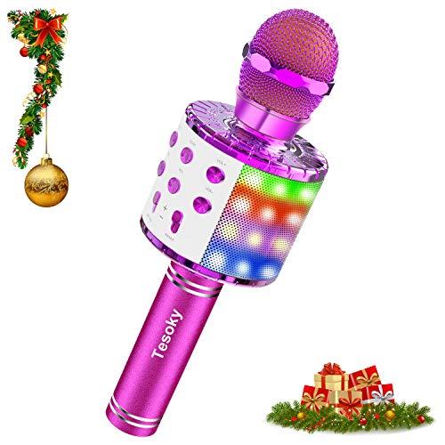 Tesoky Microfono Karaoke Bluetooth, 4 en 1 máquina Karaoke Portatil con Altavoz con Luces de Baile LED para Niños Cantar, Función de Grabación, Compatible con Android iOS PC, AUX (Púrpura)