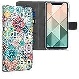 kwmobile Wallet Hülle kompatibel mit LG G8s ThinQ - Hülle Kunstleder mit Kartenfächern Stand Marokkanische Fliesen bunt Blau Rot Hellbraun