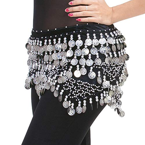 Belly Dance Hip Scarf Bellydance Outfit Silver Coins Belt Skirt Black