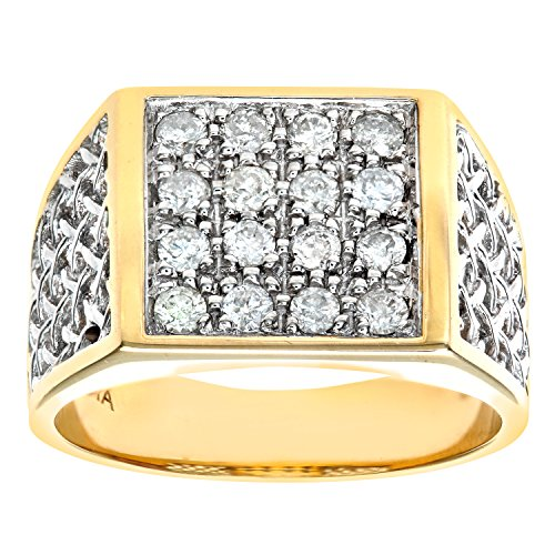 Naava Men's 9 ct Yellow Gold Diamond Cluster Ring, Size Q