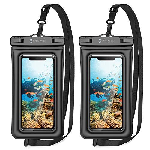 Syncwire Wasserfeste Handyhülle [7 Zoll, 2 Stück] IPX8 Universal Wasserfeste Handyhülle für iPhone SE2/11 Pro Max/XS Max/11/XR, Samsung Galaxy S10/S9/S8, Huawei usw. - Schwarz