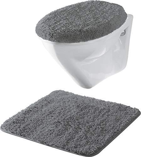 Erwin Müller Hänge-WC-Set 2-TLG. Uni, WC-Vorlage, WC-Deckelbezug rutschhemmend anthrazit - ultraweich, extrem saugfähig, flusenarm (weitere Farben)