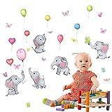 Pegatinas de Pared Elefante,Pegatinas de Pared Infantiles,Adhesivos Pared Elefante Estrellas Nube Decoración,Habitación Bebés Niños Guardería Dormitorio Salón