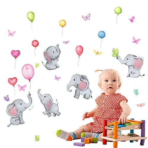 Pegatinas de Pared Elefante,Pegatinas de Pared Infantiles,Adhesivos Pared Elefante Estrellas Nube Decoración,Habitación...
