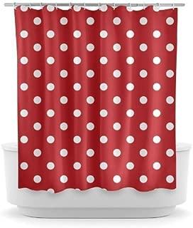 KOiomho Shower Curtain Red Polka Dot Bathroom Decorative 170 x 200 cm