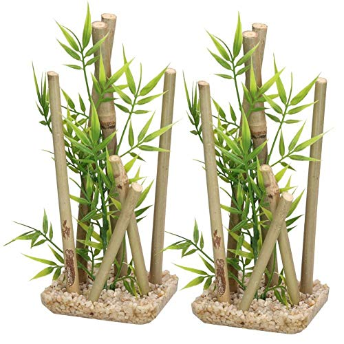 2 decorazioni per acquari in bambù per acquario, 9 x 11 x 25 cm