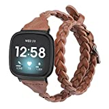 Glebo Leather Bands Compatible with Fitbit Versa 3 / Fitbit Sense for Women and Girls , Slim Double Tour Woven Leather Straps Bracelet Replacement Wristband for Fitbit Versa 3 Smartwatch,Brown