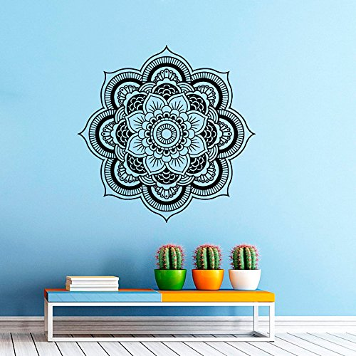 Sticker mural Mandala Stickers Indien Dessin Vinyle autocollant Yoga Namaste Intérieure Décor Murale Conception d'intérieur Art peintures Murales Chambre a coucher Dortoir vk11