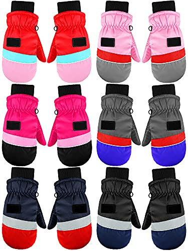 6 Pairs Kids Winter Ski Gloves Waterproof Snow Gloves Mittens Unisex Kids Winter Gloves Windproof Warm Ski Gloves Adjustable Kids Gloves for Boys Girls Cold Weather, 5-8 Years Old