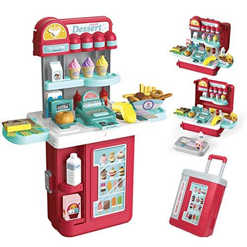 GRESAHOM Heladería de Juguete para niños, 4 en 1 Rollos de postres de supermercado con Ruedas, 54...