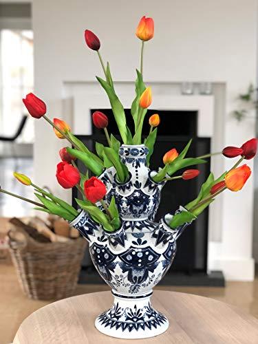 Tulpenvaas Delfts blauw Mét Tulpen Rood - 42 cm - Kunst Tulpen - Delfts blauwe vaas - Tulpen vaas - Relatiegeschenk - Design vaas - Bloemenvaas