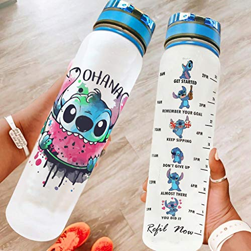 Pandro Ohana Watermelon Stitchy - Botella de agua potable portátil reutilizable de 32 onzas para ejercicios de fitness, senderismo, blanco 1000 ml