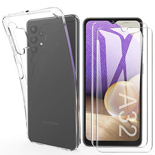 HTDELEC für Samsung Galaxy A32 +[2 Stück] Panzerglas Schutzfolie,Transparent [Anti-Gelb] Dünn Handyhülle klare weiche TPU Silikon Schutzhülle für Samsung Galaxy A32 5G-Transparent