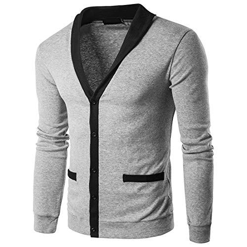 FULUN Sudadera de solapa con botones de manga larga para hombre, chaqueta de invierno para hombre, informal, cuello en V, algodón, lino, ajuste delgado, suéter de punto con bolsillos
