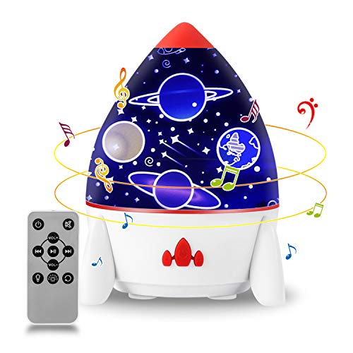Star Night Light Projector, USB Rechargeable Baby Night Lamp Projector with Remote Control and Timer, Built-in 4 Music and 6 Projector Films, 7 Lighting Modes Gifts for Kids Adults Party Decoration