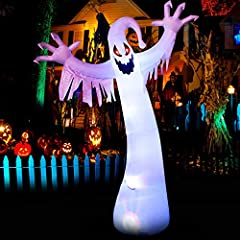 Perfect Halloween Outdoor Decor — The Inflatable ghost is designed with red eye and reaches a height of 12ft. Installed in the courtyard, it will make your yard full of a scary fun atmosphere during Halloween season. Eye-Catching Light — Built-in bri...