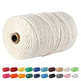 Macrame Cord, POZEAN 3mm x 220 Yards (About 200m) Cotton Rope, 100% Natural Cotton Macrame Rope for...