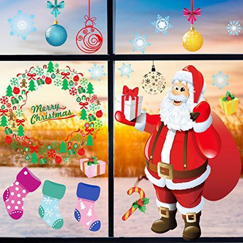 LessMo Fensterbilder Weihnachten Selbstklebend, Fensterdeko Weihnachten, Party Neujahrsbilder, DIY-Dekorationen für Türen, Fenster und Vitrinen, Weihnachten Theme Party Neujahrsbedarf, PVC