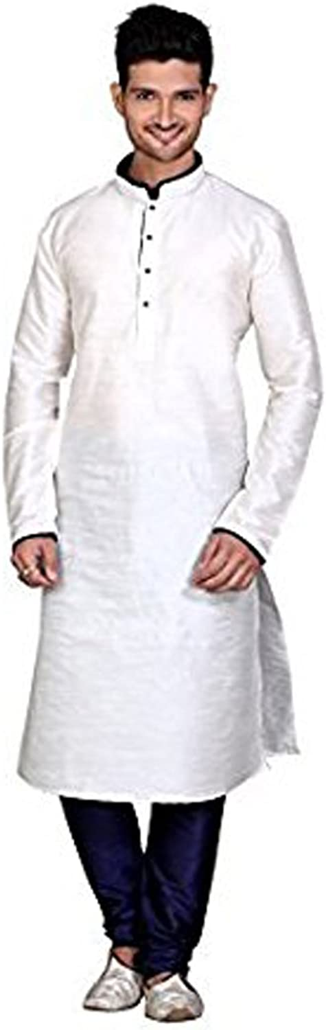 Royal Men's Traditional Clothing Indian Bollywood Silk Blend Kurta Churidar Set Off-White
