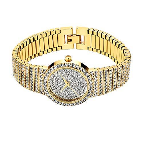 LQS72 Orologio Hip Hop Iced out Orologio da Donna con Bracciale in Oro/Argento Pieno di Diamanti