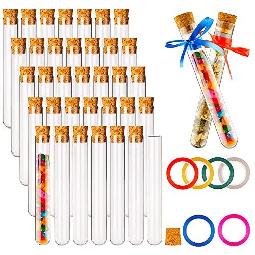 35 Reagenzgläser für Blumen,eagenzgläser mit Korken Kork,Transparente Reagenzgläser aus Kunststoff mit 6 Bandrollen,für Hochzeitsdekoration Gefälligkeite, Süßigkeiten, Badesalz, Gewürze, Glasperlen