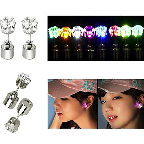 LACGO Stylish LED Blinking Studs Earrings Shinning Flashing Crystal Pendant for Party Festival (Multi-color, 4 Pair)