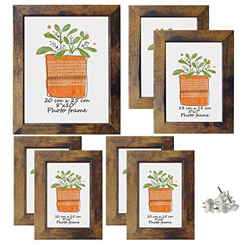 PETAFLOP 7er Set Rustikal Vintage Bilderrahmen EIN 20x25 DREI 13x18 DREI 10x15, Holz Optik mit Glasscheibe