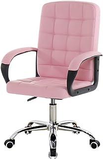 Chair Mobiliario Silla de Oficina Sillas de Escritorio giratorias de Cuero de imitación, Ajustable en Altura |Rotación de 360 °, Silla ergonómica Rosa para computadora con Respaldo Medio de PU