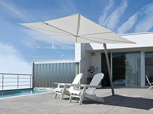 Parasol déporté - Spectra Carré [1parasol2.5x2.5m] Olefin Polyester 190g/m2 Stone grey Mât incliné (80°) Aluminium blanc
