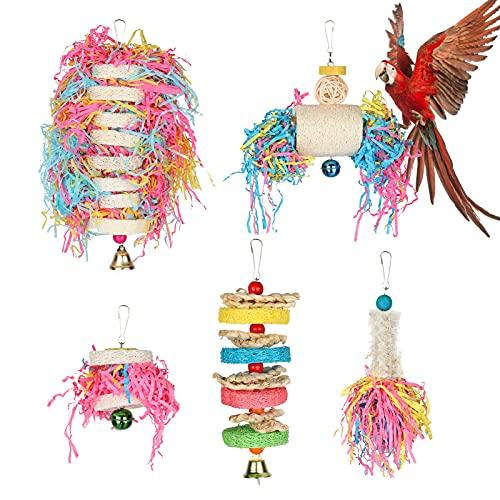 Augot Bird Papegaaienspeelgoed Set 5-pack Vogelspeelgoed Papegaai Schommelspeelgoed Kauwspeelgoed Kleurrijke hangende…