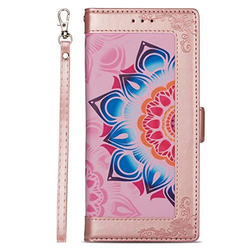 Miagon PU Leder Flip Hülle für Samsung Galaxy S8,Brieftasche Cover Blume Design Full Body Schutz Handyhülle mit Kartenfächer Standfunktion Handschlaufe,Roségold