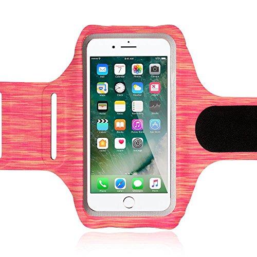Nalia Fitness-armband, sporttas voor mobiele telefoon, reflecterend bovenarmtasje om te joggen, wandelen, fietsen voor smartphones tot 5,5 inch, bijv. iPhone, Samsung, HTC, Sony, Huawei UVM., Hot Orange