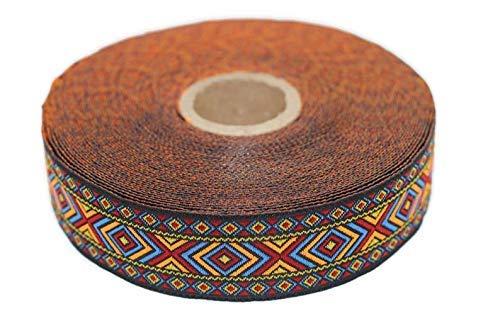 Bobina de 10 metros de ancho de 25 mm de ancho, diseño hippie, tejido jacquard bordado, color naranja y azul